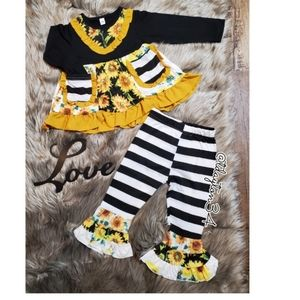 Other - New toddler girl stripped sunflower ruffled outfit